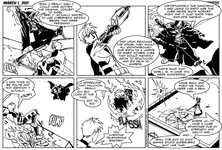 Now with authentic mid-fight super hero comic dialog!